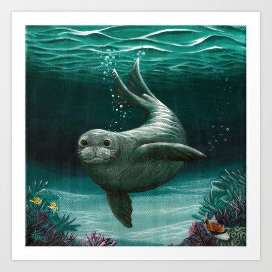 """Hawaiian Monk Seal"" by Amber Marine ~ Acrylic Painting, (C) 2015 Art Print"