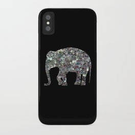 Sparkly colourful silver mosaic Elephant iPhone Case