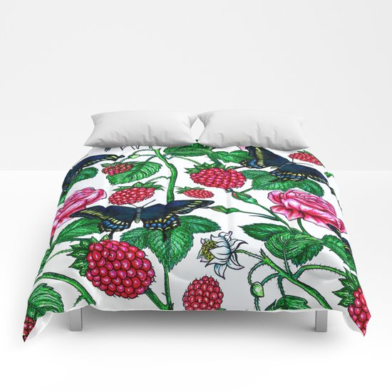 Raspberries pattern Comforters