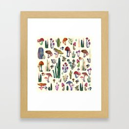 Cactus and Mushrooms Framed Art Print