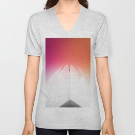 Lotus Flower Symmetry Perfection under the Rainbow at Lotus Temple in India Unisex V-Neck