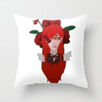 kuroshitsuji Throw Pillows featuring Grell Sutcliff // Pansy by Nadidrawings