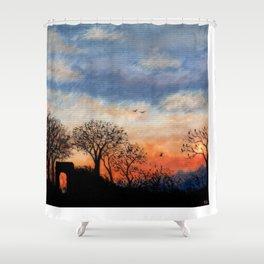Winter Silhouette Sunset Shower Curtain