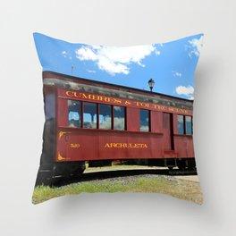 Red Railroad Car - Cumbres And Toltec Throw Pillow