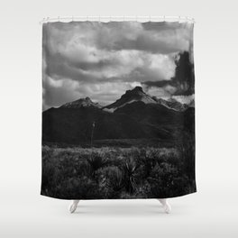 Dramatic Clouds over Mountain Range in Big Bend Shower Curtain