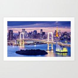 Popular Rainbow Bridge Tokyo Bay Shibaura Odaiba Minato Japan Asia Romantic Evening Red Ultra HD Art Print