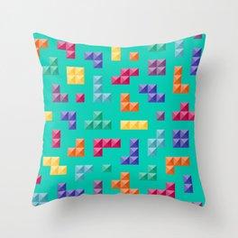 Tetris bricks jewel tones on turquoise pattern Throw Pillow