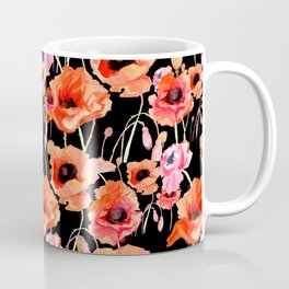 Bold Red and Pink Poppy Flowers on Black Coffee Mug