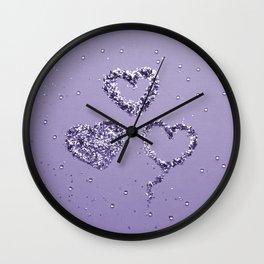 Ultra Violet LOVE Glitter Hearts #1 #shiny #decor #art #society6 Wall Clock