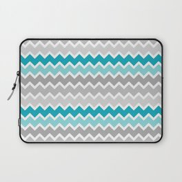 Turquoise Teal Blue Gray Chevron Laptop Sleeve