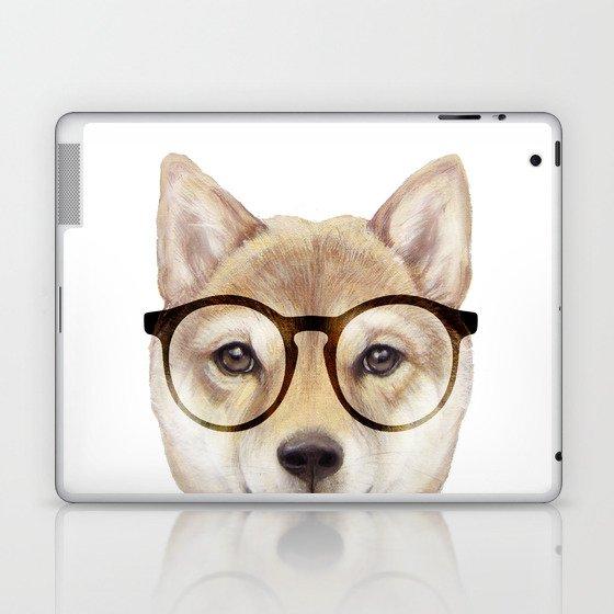 Shiba inu with glasses Dog illustration original painting print Laptop & iPad Skin