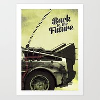 back to the future Art Prints featuring Back to the future by Duke.Doks