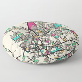 Colorful City Maps: Norfolk, Virginia Floor Pillow