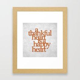 Thankful Heart: Typography Framed Art Print