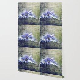 Vintage Floral Decorative Worn Wallpaper