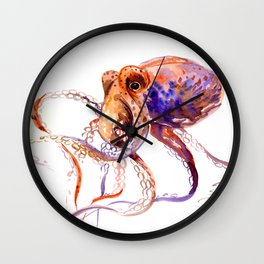 Octopus, orange purple aquatic animal design Wall Clock