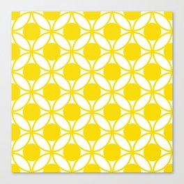 Geometric Floral Circles Summer Sun Shine Bright Yellow Canvas Print