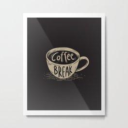 Coffee Break Painting Artwork Metal Print