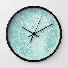 Happy Ghostly alpaca and mandala in Limpet Shell Blue Wall Clock