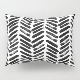 Simple black and white handrawn chevron - horizontal Pillow Sham
