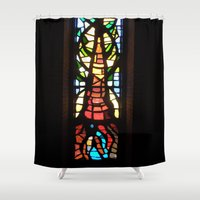 stained glass Shower Curtains featuring Stained Glass by Lady Tanya bleudragon