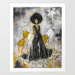 Dear Queen Black and Gold Art Print