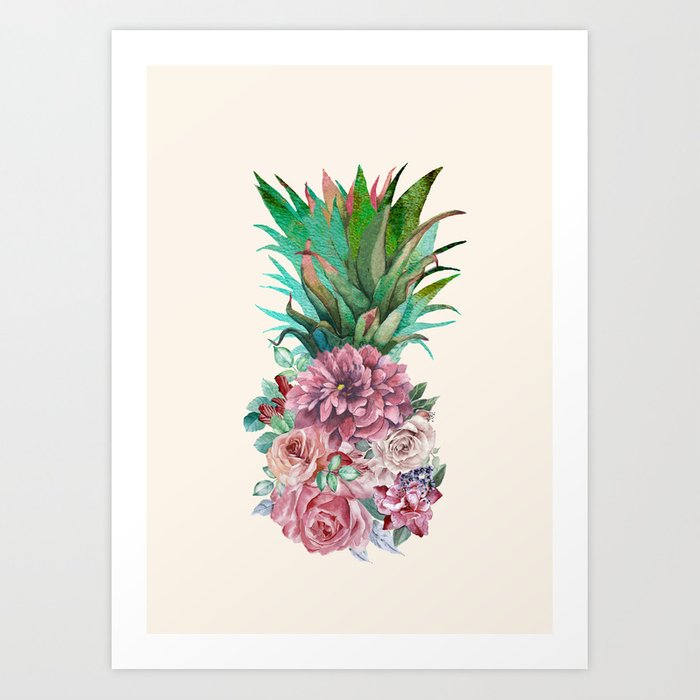 Floral Pineapple Art Print