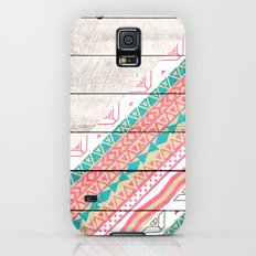 Andes Tribal Aztec Coral Teal Chevron Wood Pattern Slim Case Galaxy S5