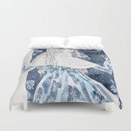 Snow Queen at the window Duvet Cover