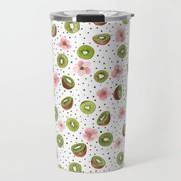 Kiwis with blush pink flowers and black dots watercolor Travel Mug