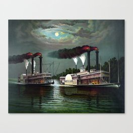 Race Of The Steamers Robert E. Lee and Natchez Canvas Print