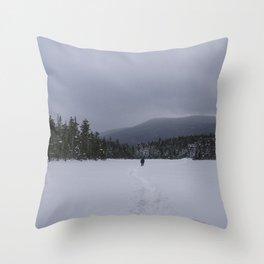 Snowshoeing Across Lonesome Lake - NH Throw Pillow