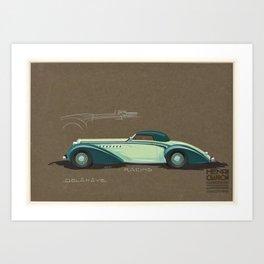1935 Delahaye Cabriolet Racing Prototype Vintage Poster by Henri Chapron Art Print