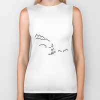 skiing Biker Tanks featuring snowboarder skiing winter sports by Lineamentum