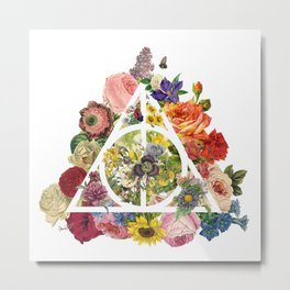 Floral Deathly Hallows - White Metal Print