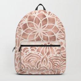 Mandala Seashell Rose Gold Coral Pink Backpack