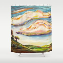 Color clouds in the valey Shower Curtain