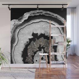 Gray Black White Agate with Silver Glitter #2 #gem #decor #art #society6 Wall Mural
