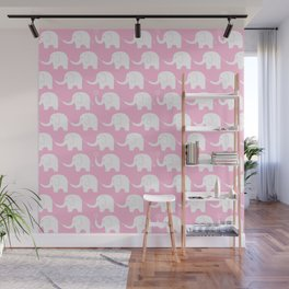 Elephant Parade on Pink Wall Mural