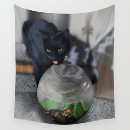 Black Kitty Cat with Fish in Fishbowl Wall Tapestry