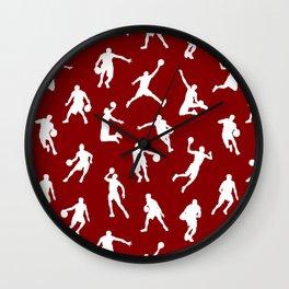 Basketball Players // Maroon Wall Clock