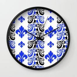 Fluer de Lis Custom Blue Wall Clock