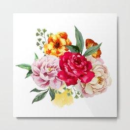 Watercolor Spring Flowers Metal Print