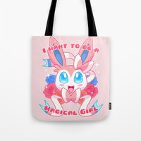 magical girl Tote Bags featuring Magical Girl Sylveon by Anjila
