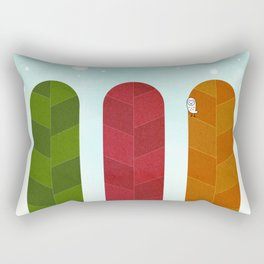 077 - Owly watches the first snow over the autumn poplar forest Rectangular Pillow