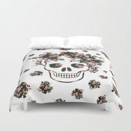 Flower Skull, Floral Skull, Pink Flowers on Human Skull Duvet Cover