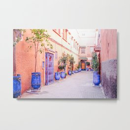 Colorful Street with Blue Pots in Marrakech, Morocco Metal Print