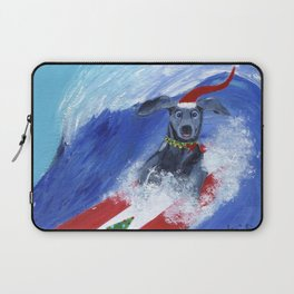 Christmas Surfing Weimaraner Laptop Sleeve