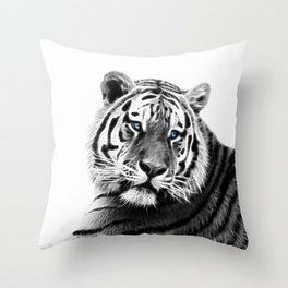Black and white fractal tiger Throw Pillow