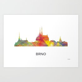 Brno Czech Republic skyline BW Art Print